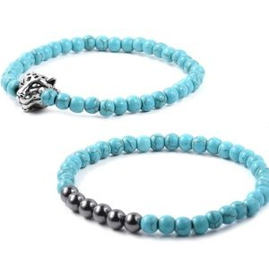 Jewelry - Set of 2 Blue Howlite beads bracelets